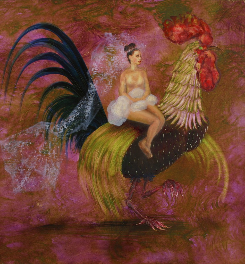Girl and Cockerel by Desmond Shortt