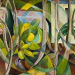 Abstract Geometric Painting of Plants 1 by Mary Swanzy