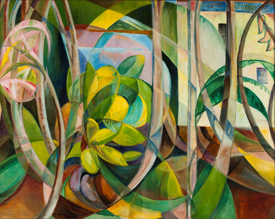 ... Geometric Painting of Plants 1 by Mary Swanzy - Art Collection