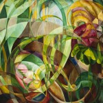 Abstract Geometric Painting of Plants 2 by Mary Swanzy